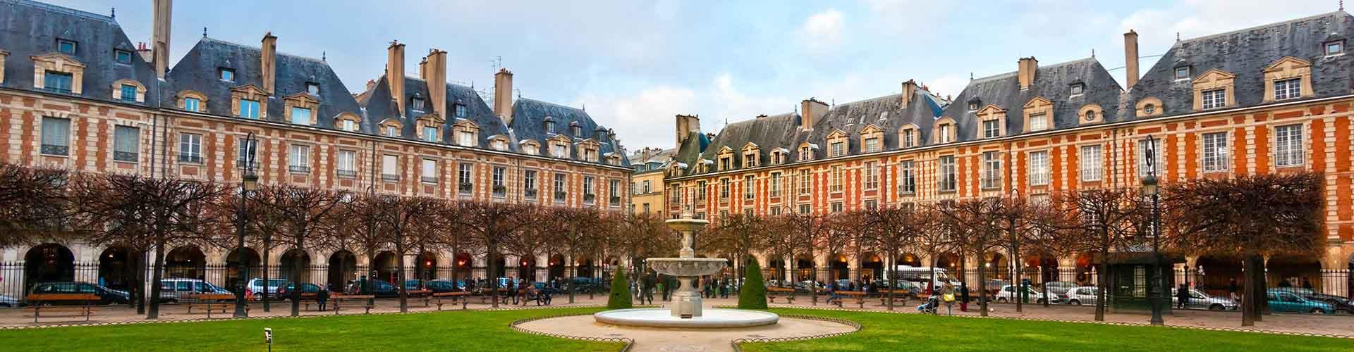 París - Albergues Juveniles cerca a Place des Vosges. Mapas de París, Fotos y Comentarios para cada Albergue Juvenil en París.